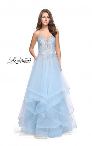 Picture of: Strapless Ruffle Tulle Ball Gown with Beaded Lace Bodice, Style: 25515, Detail Picture 2