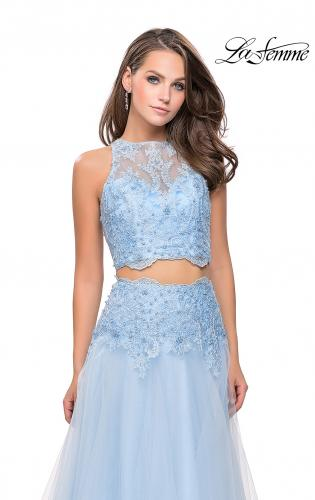 Picture of: Beaded and Lace Two Piece Dress With Tulle Skirt, Style: 26309, Detail Picture 2