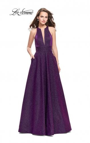 Picture of: Long Sparkling Prom Dress with High Neck and Cut Outs, Style: 26073, Main Picture