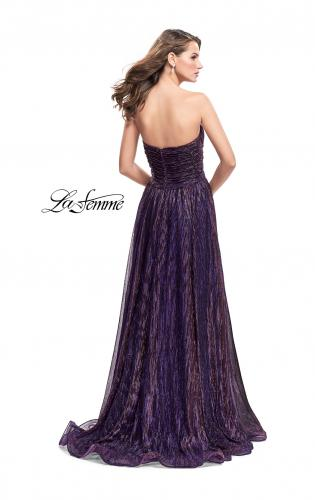 Picture of: Pleated Lame A-line Prom Dress with Ruched Bodice, Style: 25886, Back Picture