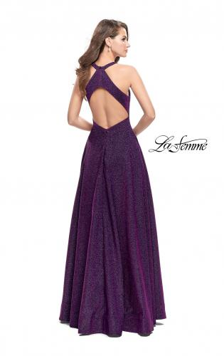 Picture of: Long Sparkling Prom Dress with High Neck and Cut Outs, Style: 26073, Back Picture