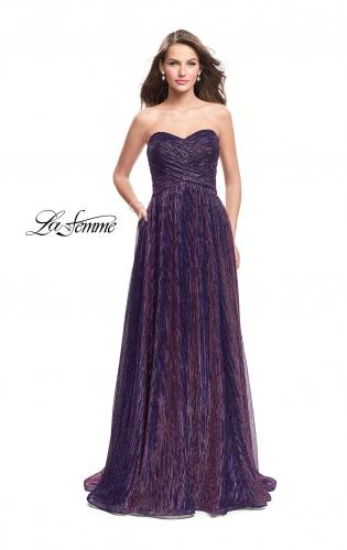 Picture of: Pleated Lame A-line Prom Dress with Ruched Bodice, Style: 25886, Detail Picture 2