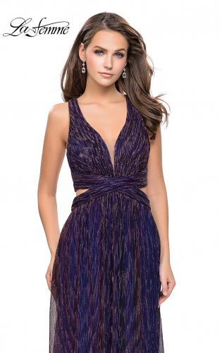 Picture of: Pleated Lame Prom Dress with Cut Outs and a Deep V, Style: 25643, Detail Picture 1