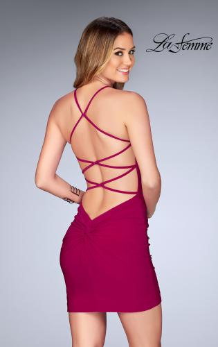 Picture of: Short Halter Homecoming Dress with Criss Cross Back, Style: 25141, Back Picture