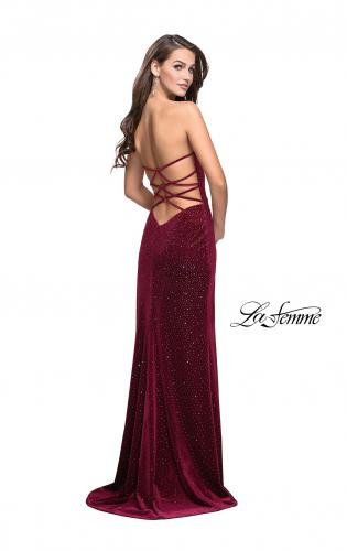 Picture of: Long Sparkly Jersey Prom Dress with Side Leg Slit, Style: 25443, Back Picture
