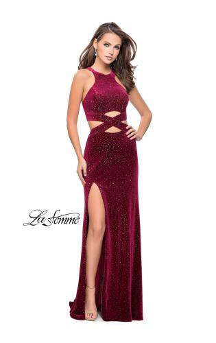 Picture of: Long Velvet Prom Dress with Beading and Open Back, Style: 25407, Detail Picture 1