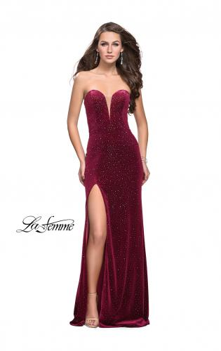 Picture of: Long Sparkly Jersey Prom Dress with Side Leg Slit, Style: 25443, Detail Picture 2