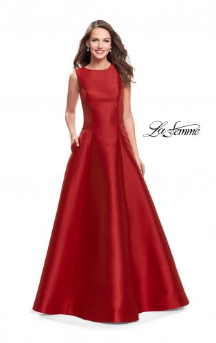 Picture of: Long Mikado Ball Gown with Boat Neck and Criss Cross Back, Style: 25425, Main Picture