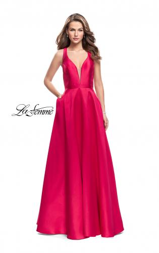 Picture of: Mikado A-line Prom Dress with Strappy Open Back, Style: 26215, Main Picture