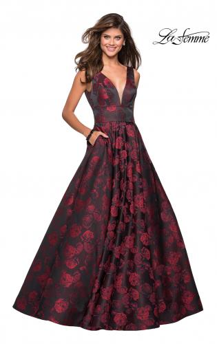 Picture of: Floral A Line Ball Gown with V Back and Pockets, Style: 27298, Main Picture
