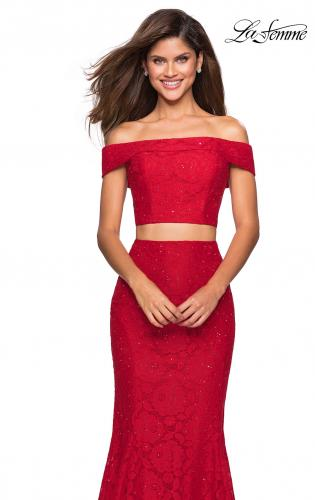 ff5fee75b605 Picture of: Lace Two Piece Off the SHoulder Dress with Rhinestones, Style:  27443 ...