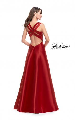 Picture of: Long Mikado Ball Gown with Boat Neck and Criss Cross Back, Style: 25425, Back Picture