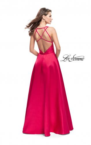 Picture of: Mikado A-line Prom Dress with Strappy Open Back, Style: 26215, Back Picture
