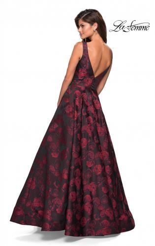 Picture of: Floral A Line Ball Gown with V Back and Pockets, Style: 27298, Back Picture