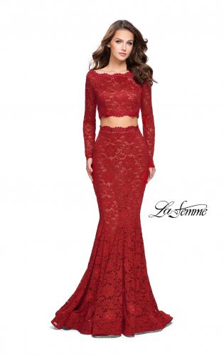 Picture of: Mermaid Style Lace Two Piece Dress with Scalloped Trim, Style: 25668, Detail Picture 1