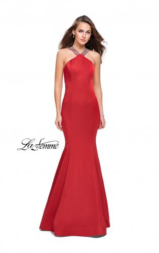 Picture of: Halter Mermaid Prom Dress with Metallic Beading, Style: 25763, Detail Picture 1