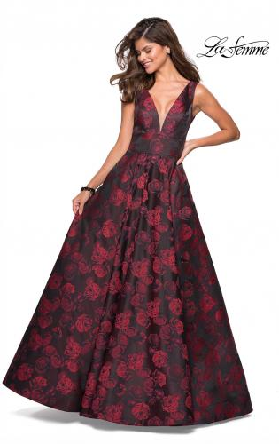 Picture of: Floral A Line Ball Gown with V Back and Pockets, Style: 27298, Detail Picture 1
