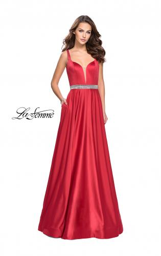 Picture of: Satin Prom Dress with A Line Skirt and Beaded Belt., Style: 24821, Detail Picture 2