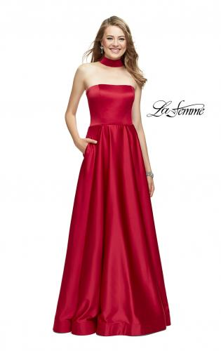 Picture of: Strapless Satin A-line Ball Gown with Attached Choker, Style: 25680, Detail Picture 2
