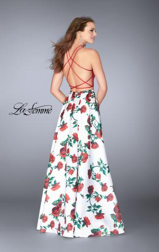 Picture of: Two Piece Mikado Dress with Floral Print Skirt, Style: 24692, Back Picture