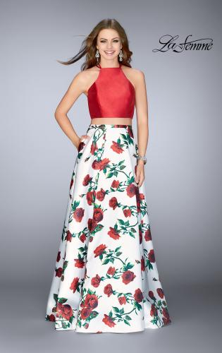 Picture of: Two Piece Mikado Dress with Floral Print Skirt, Style: 24692, Detail Picture 1
