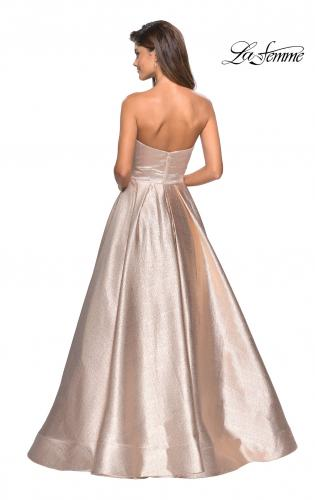 8ecd0a904ad ... Detail Picture of  Long Metallic Strapless A Line Ball Gown