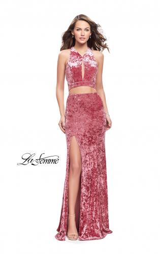 Picture of: Long Velvet Prom Dress with Crop Top and Leg Slit, Style: 25500, Detail Picture 1