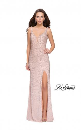 Picture of: Form Fitting Prom Dress with Metallic Beading and Slit, Style: 25931, Main Picture
