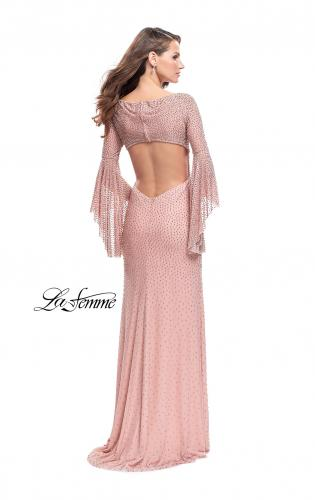 Picture of: Beaded Prom Dress with 3/4 Bell Sleeves and Leg Slit, Style: 25717, Back Picture