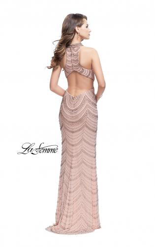 Picture of: Long Metallic Beaded High Neck Prom Dress, Style: 25930, Back Picture