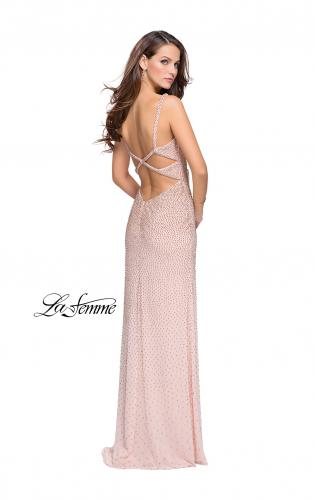 Picture of: Form Fitting Prom Dress with Metallic Beading and Slit, Style: 25931, Back Picture
