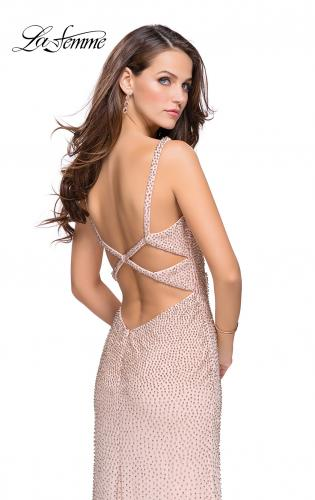 Picture of: Form Fitting Prom Dress with Metallic Beading and Slit, Style: 25931, Detail Picture 2
