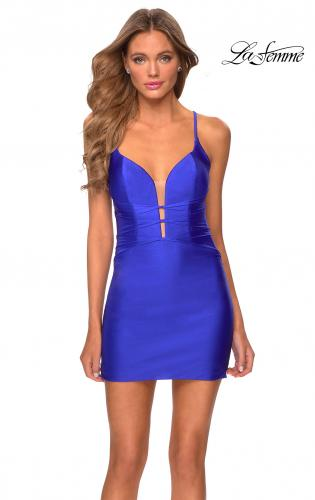Picture of: Short Jersey Dress with Knotted Bodice Detail in Royal Blue, Style: 29259, Main Picture