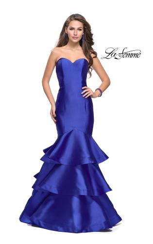Picture of: Long Mikado Mermaid Gown with Tiered Ruffle Skirt, Style: 25432, Main Picture