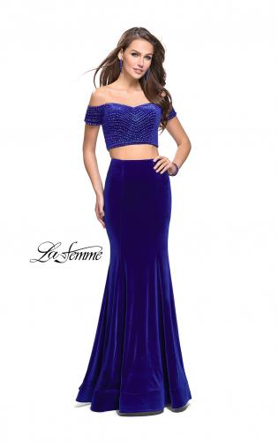 Picture of: Velvet Two Piece Prom Dress with Beading, Style: 25496, Main Picture