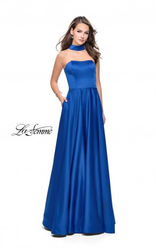 Picture of: Strapless Satin A-line Ball Gown with Attached Choker, Style: 25680, Main Picture