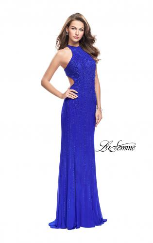 Picture of: Metallic Beaded Long Prom Dress with High Neck, Style: 26182, Main Picture