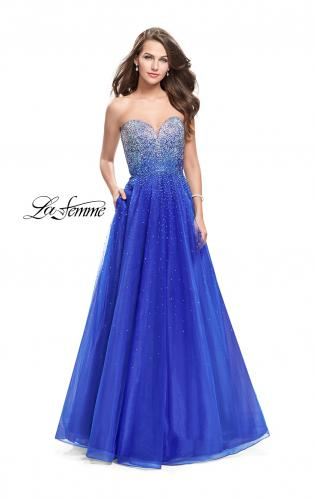 Picture of: Long Strapless Ball Gown with Metallic Ombre Rhinestones, Style: 26264, Main Picture