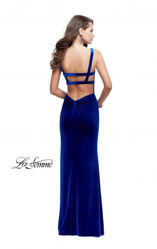 Picture of: Long Velvet Dress with Sweetheart Neckline, Style: 25375, Back Picture