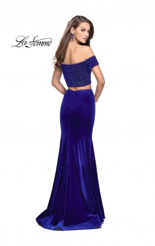 Picture of: Velvet Two Piece Prom Dress with Beading, Style: 25496, Back Picture