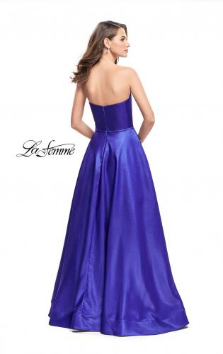Picture of: Strapless Mikado A-line Gown with Pockets, Style: 26088, Back Picture