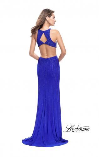 Picture of: Metallic Beaded Long Prom Dress with High Neck, Style: 26182, Back Picture