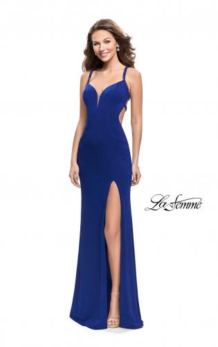 Picture of: Form Fitting Prom Dress with Metallic Straps and Slit, Style: 26021, Detail Picture 1