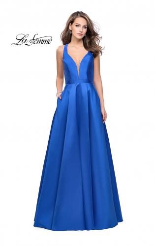 Picture of: Mikado A-line Prom Dress with Strappy Open Back, Style: 26215, Detail Picture 1