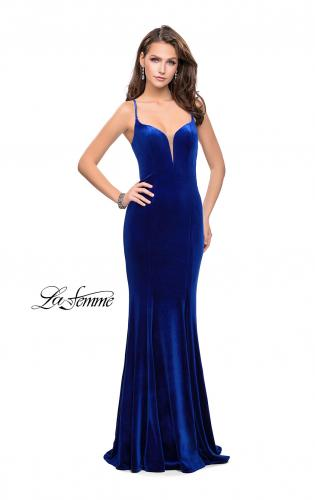 Picture of: Velvet Mermaid Style Prom Dress with Deep V Neckline, Style: 25174, Detail Picture 2