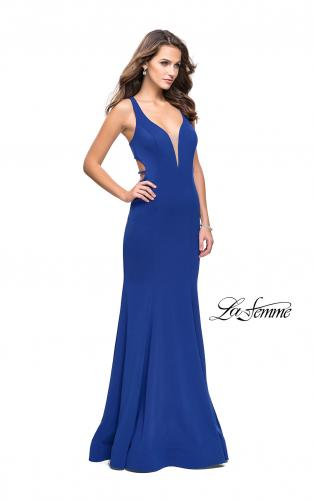 Picture of: Long Jersey Mermaid Dress with Deep V and Strappy Back, Style: 25594, Detail Picture 2