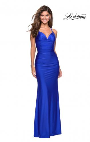 8b16350769c13 Picture of: Form Fitting Jersey Dress with Ruching and Strappy Back, Style:  27501 ...
