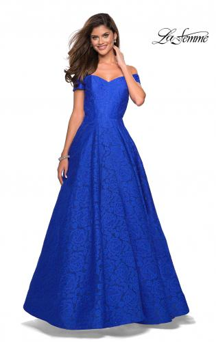 f768c727a07 Picture of  Off the Shoulder Floor Length Dress with Rhinestones