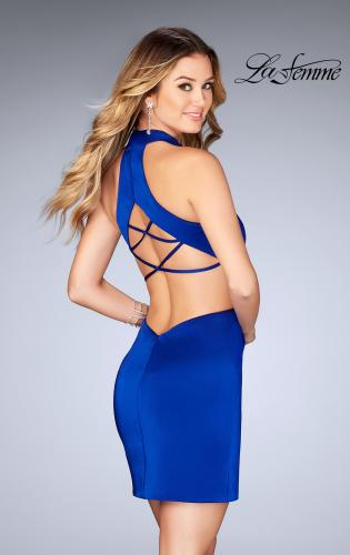 Picture of: Halter Top Short Dress with Strappy Back and Cut Outs, Style: 25197, Back Picture