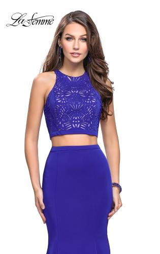 Picture of: Two Piece Jersey Prom Dress with Laser Cut Outs, Style: 25759, Main Picture